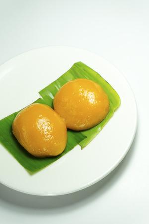 Malaysian Food. Kueh Nyonya or Nyonya Pastry on banana leaves Stock Photo