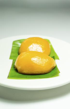 malaysian food: Malaysian Food. Kueh Nyonya or Nyonya Pastry on banana leaves Stock Photo
