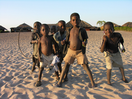 Near Pweto, Katanga, Democratic Republic of Congo, 12th June 2005: Children posing for the camera near the shore of Lake Mweru