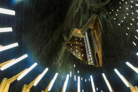 salina: Salt Mine Gallery View Salina Turda in Romania Stock Photo