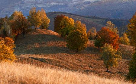 Beautiful transylvanian autumn evening above the valley
