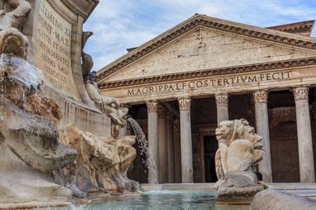 pantheon: The Pantheon with the fountain in daylight no people Stock Photo