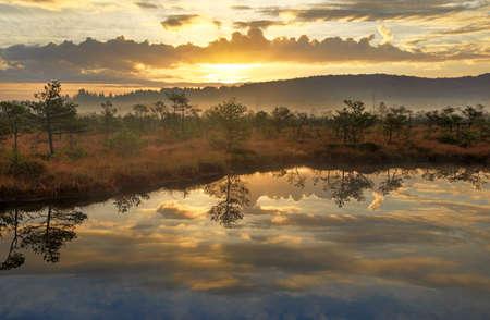 Sunrise colors over the lake at sunrise