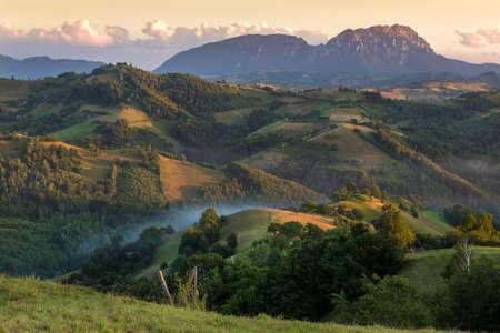 Colorful sunset with summer landscape,Transylvania,Romania