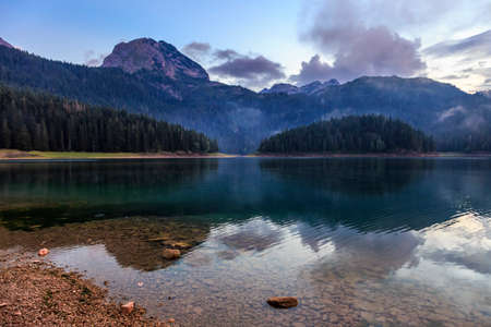 Evening over montenegro black lake and durmitor mountain Standard-Bild