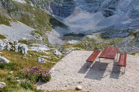 Bench in Seven Lakes Valley, Slovenia. Triglav National Park.