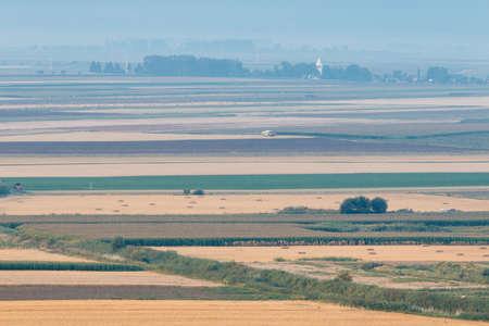 Harvester doing agricultural seasonal work in the field. Standard-Bild
