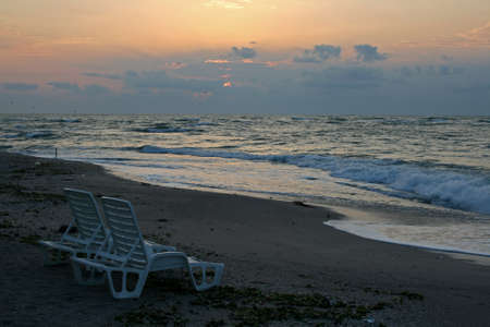 Chair beach on sand in the summer vacation travel beautiful summer landscape sunrise on the beach with sea