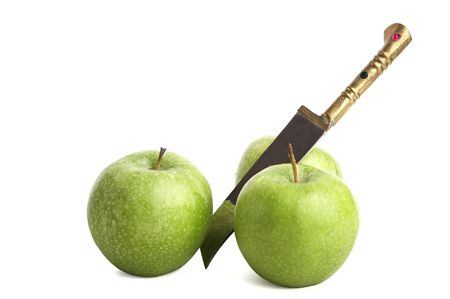 apple and knife on white photo