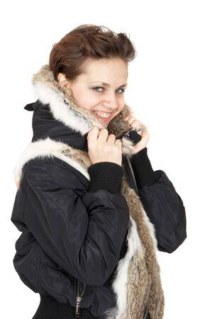 Portrait of beautiful girl in a fur jacket  photo