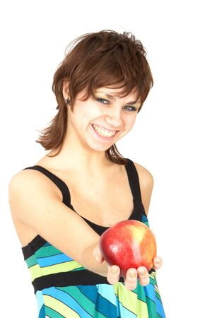 beautiful girl holding in a hand an apple photo