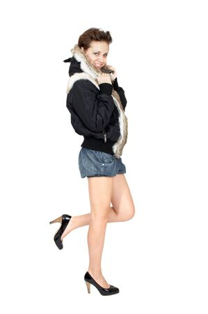 beautiful girl in a fur jacket  photo