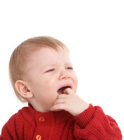 obnoxious: crying kid. isolated on white