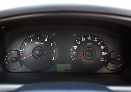 The black dashboard of car photo