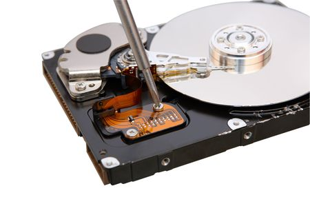 Repair hard disc. on white photo