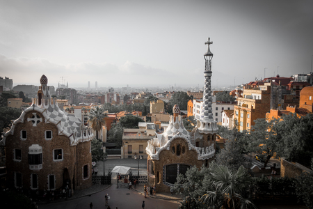 Park guell colors in Barcelona, Spain. Imagens