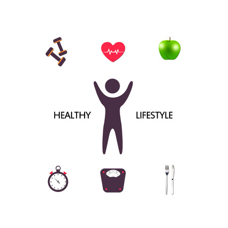 over weight: Healthy lifestyle concept over white background. lose weight theme