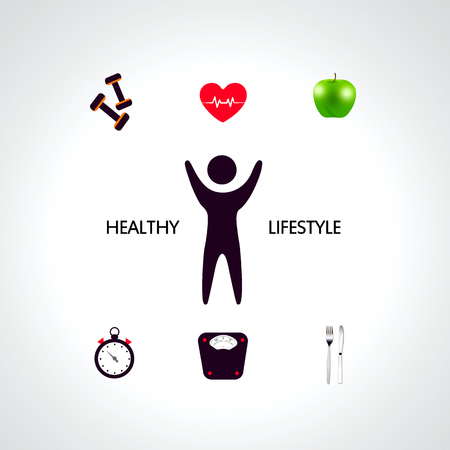 over weight: Healthy lifestyle concept over white-gray background. lose weight theme
