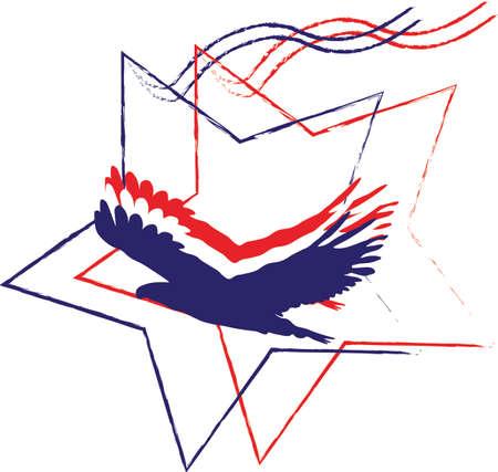 eagle silhouette: Adler Silhouette mit Sternen Illustration