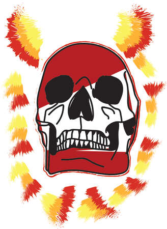skull with fire effect for printing
