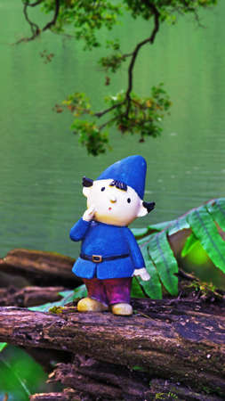 Fantasy fairytale circumstance, an elfin stand on wood by the side of lake. Stock Photo