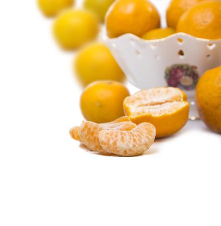 tangerine or mandarin fruit isolated on white background Stock Photo