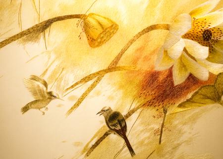 Fleurs et d'oiseaux travaux de broderie Banque d'images - 35227860