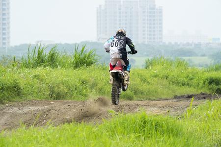Motocross on the dirt path