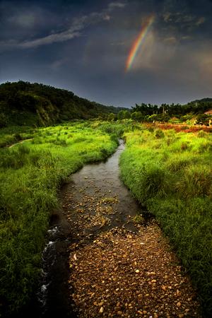 Vreemde regenboog hierboven van gras rivier