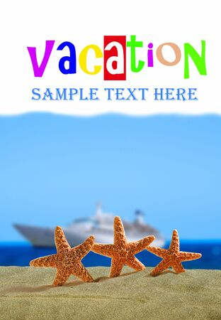 An image of vacation concept with elements of starfishs