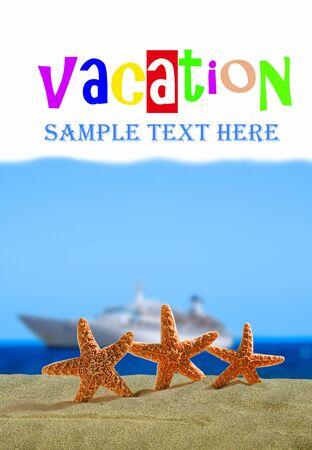 Een afbeelding van vakantie concept met elementen van starfishs Stockfoto