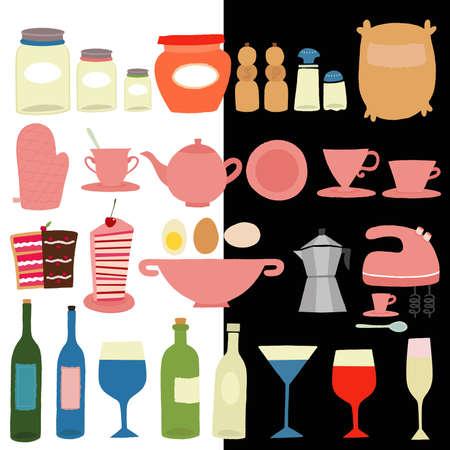 coffeepot: Kitchen Utensils Icon Set Illustration
