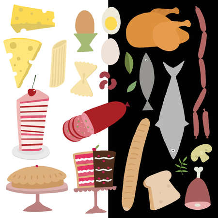 Pastry and Meat Products Icon Set Vector