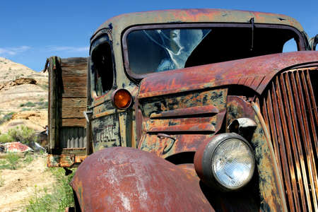 salvage yards: vintage farm truck in rural wyoming Stock Photo