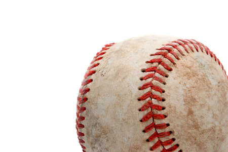 homerun: retired baseball, close up and over white