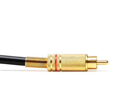 macro of a gold-plated audio/video jack, over white. Stock Photo - 217869