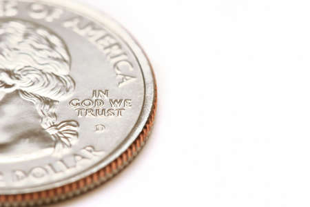 25 cents: american quarter dollar macro - in god we trust, over white