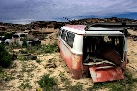 abandoned car: abandoned cars, in the middle of nowhere -  wyoming Stock Photo