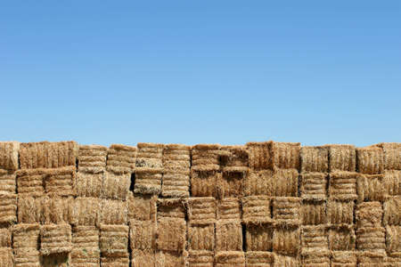 a wall of hay bales against a blue sky photo