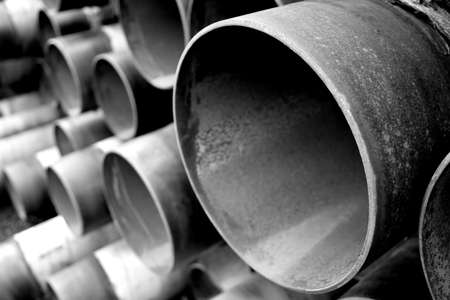 metal pipe: steel pipes in black and white Stock Photo