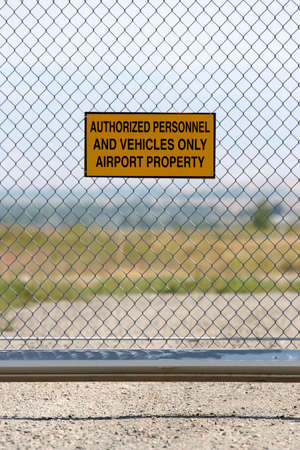 trespass: airport security - authorized personnel and vehicles only sign Stock Photo