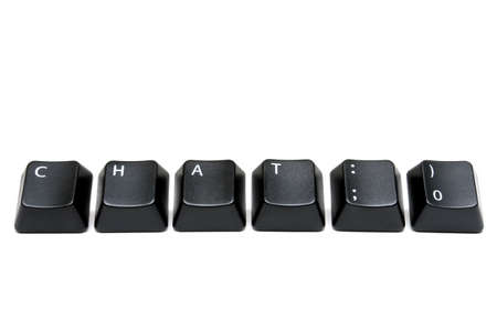 emote: chat with smiley emote - macro of keyboard keys isolated over white