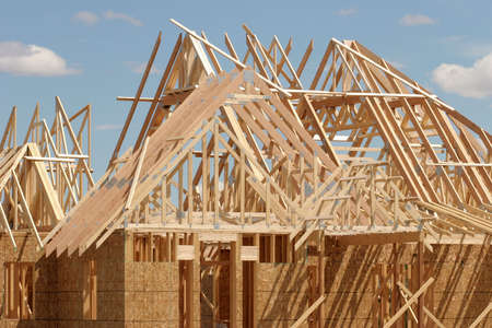 roof framing: construction - roofing chaos. Stock Photo