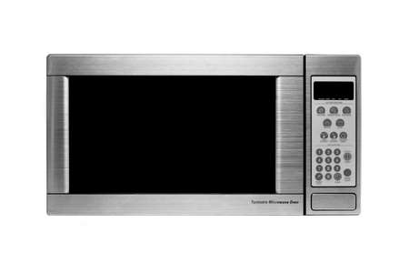 defrost: microwave oven shot over white, modern stainless steel design
