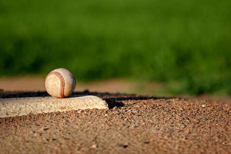 baseball closeup on the pitchers mound Stock Photo