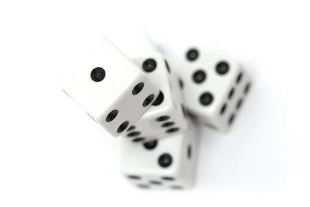 highkey: dice stack - highkey macro over white, shallow depth of field