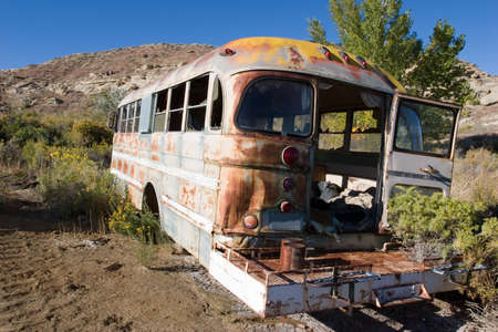 old school bus, abandoned photo