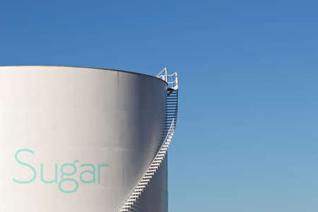 sugar silo with stairs and giant photo