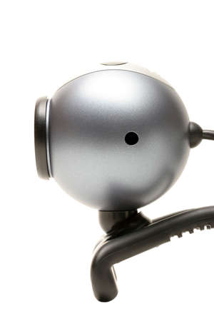 webcam from the side, over white with limited depth of field photo