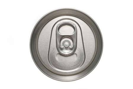 thirst quenching: aluminum can macro from the top, isolated over white Stock Photo
